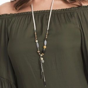 WHBM Semi-Precious Linen Satin Pendant Necklace